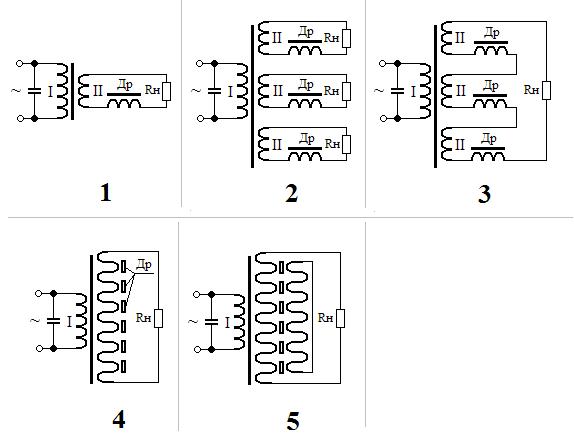 схемы трансформатора,